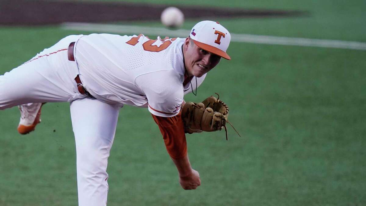 Texas' Ty Madden delivers a pitch against Arizona State in the first inning of Game 4 of the NCAA Austin Regional on Saturday, June 5, 2021.
