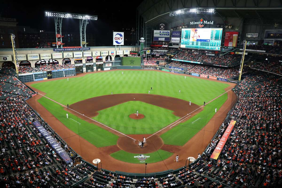 HOUSTON, TX - APRIL 08: A general view of Minute Maid Park during the game between the Oakland Athletics and the Houston Astros at Minute Maid Park on Thursday, April 8, 2021 in Houston, Texas. (Photo by Michael Starghill/MLB Photos via Getty Images)