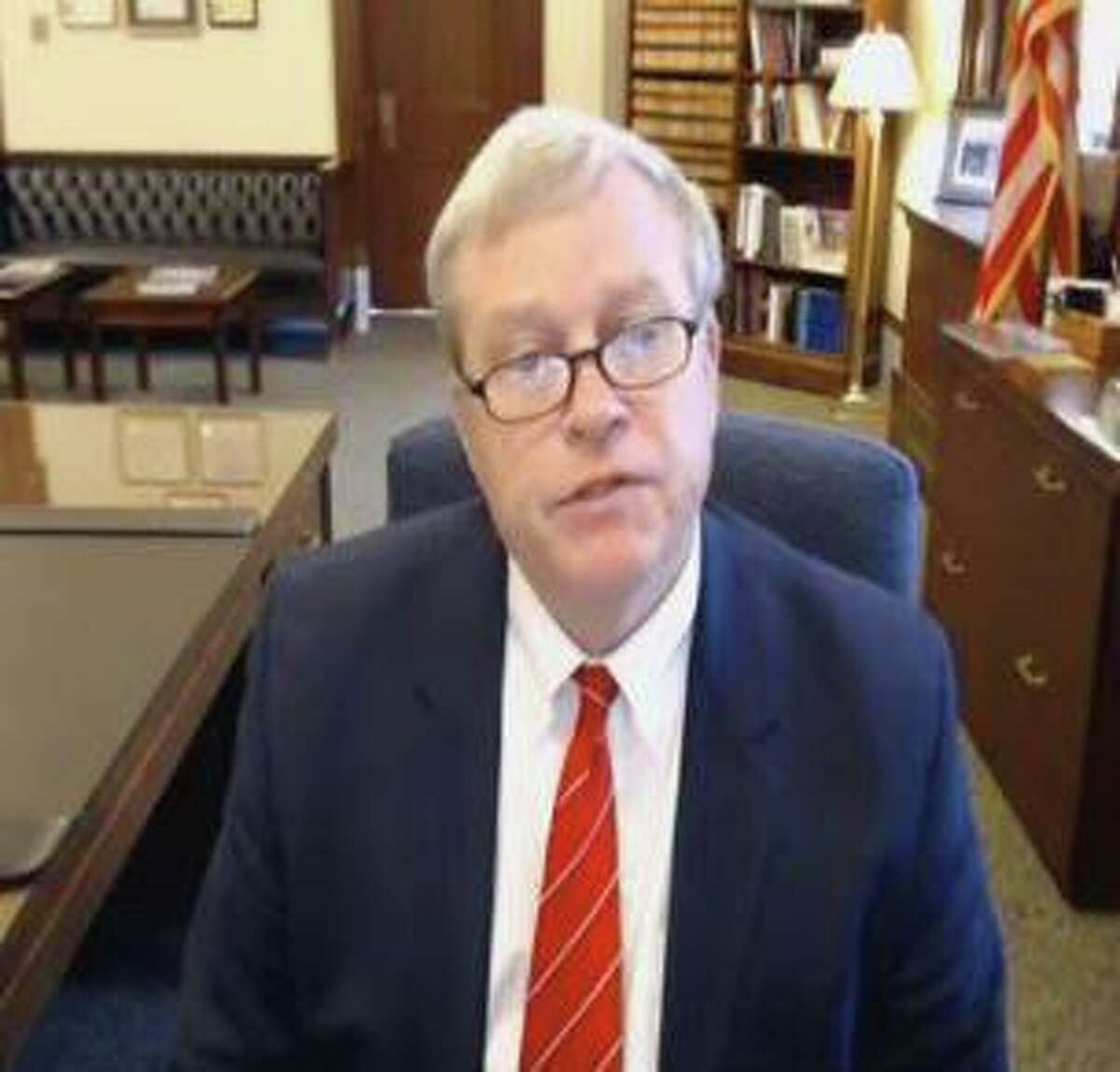 Idaho Attorney General Lawrence Wasden testifies remotely during a House Committee on Oversight and Reform hearing focused on the Sackler family members who own OxyContin maker Purdue Pharma on Tuesday, June 8, 2021.