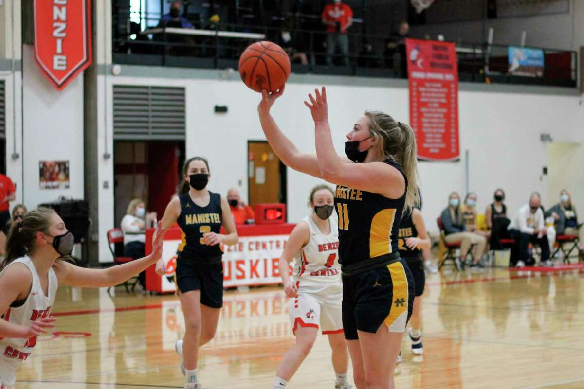 Manistee's Logan Wayward (pictured) and other basketball players across the state saw their regular season reduced to six weeks, due to repeated postponements of the start of their season. (News Advocate file photo)