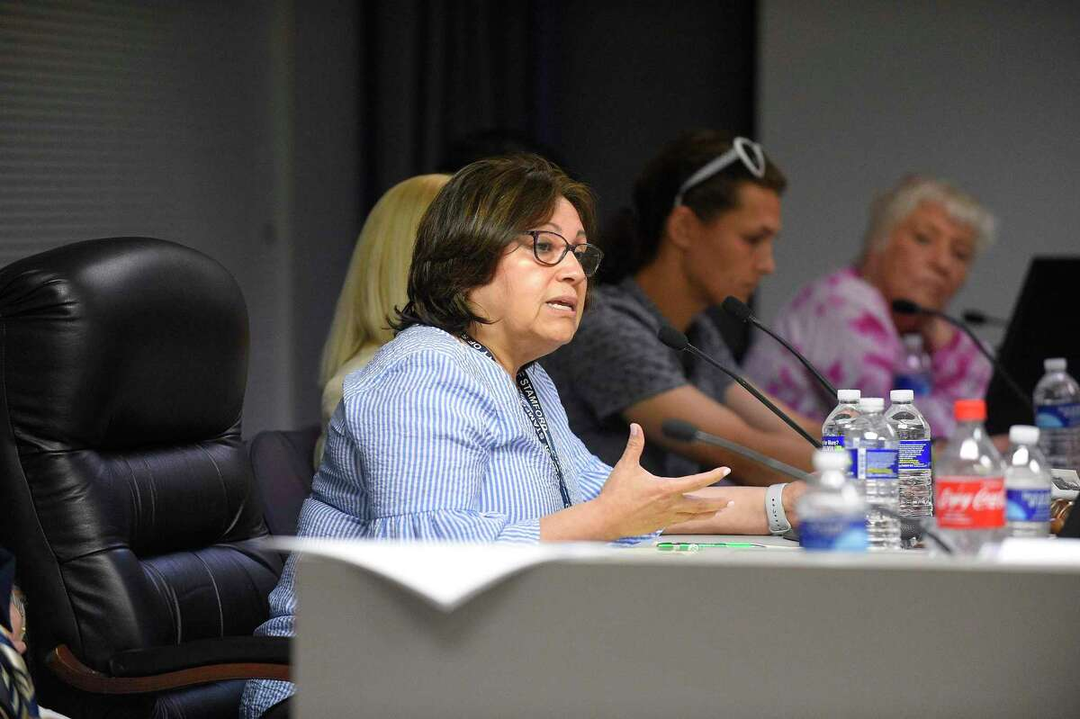 Representative Anabel Figueroa, a member of the Board of Representatives' Appointments Committee, in the Legislative Chambers of the Government Center on June 22, 2019 in Stamford, Connecticut.