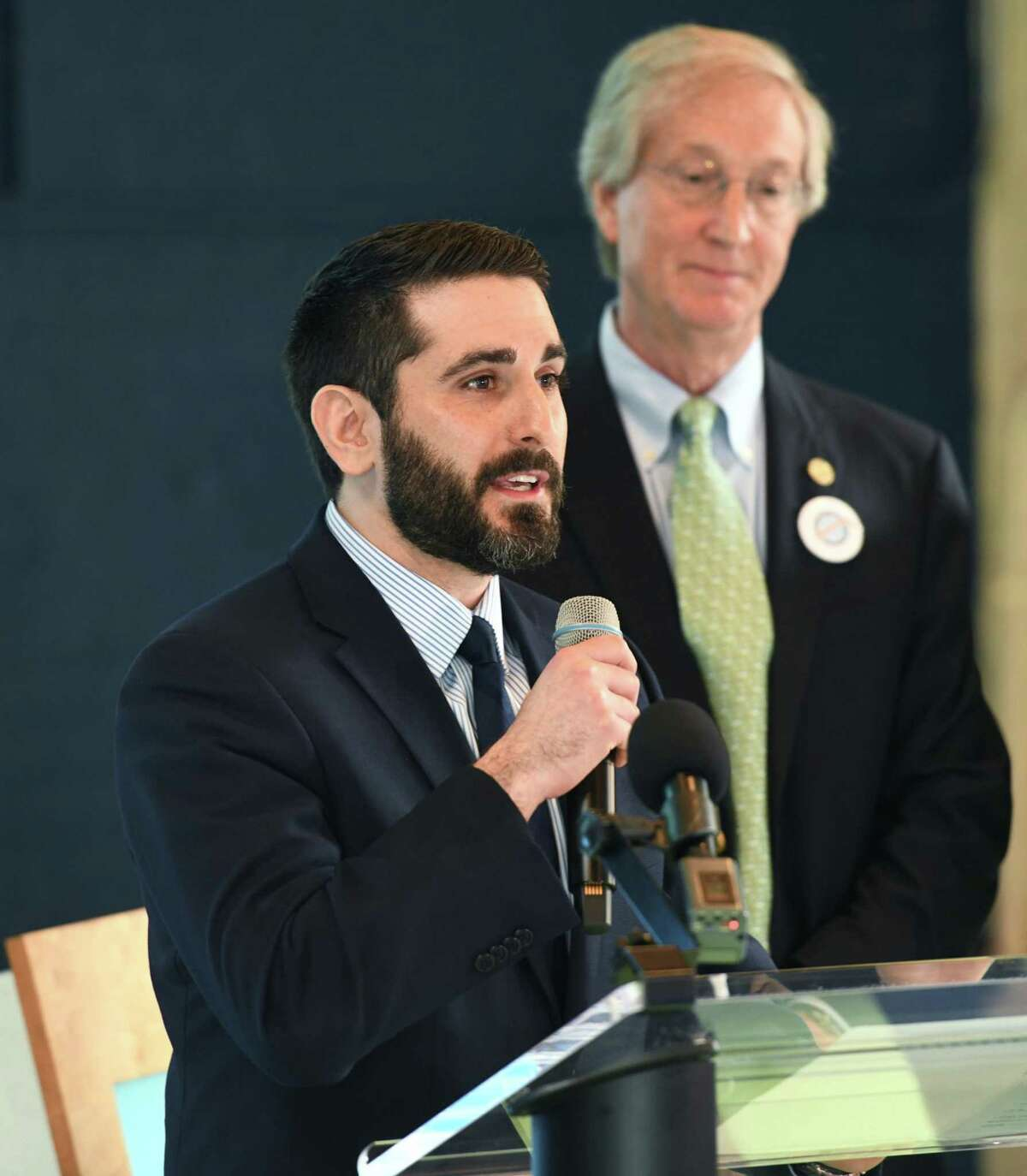 Stamford Board of Representatives member Jonathan Jacobson speaks during an Earth Day initiative press conference at the Martime Aquarium in Norwalk, Conn. Monday, April 22, 2019. Stamford and Norwalk leaders announced a plan to ban the use of single-use plastic straws and urged local businesses and residents to use more eco-friendly materials when possible.