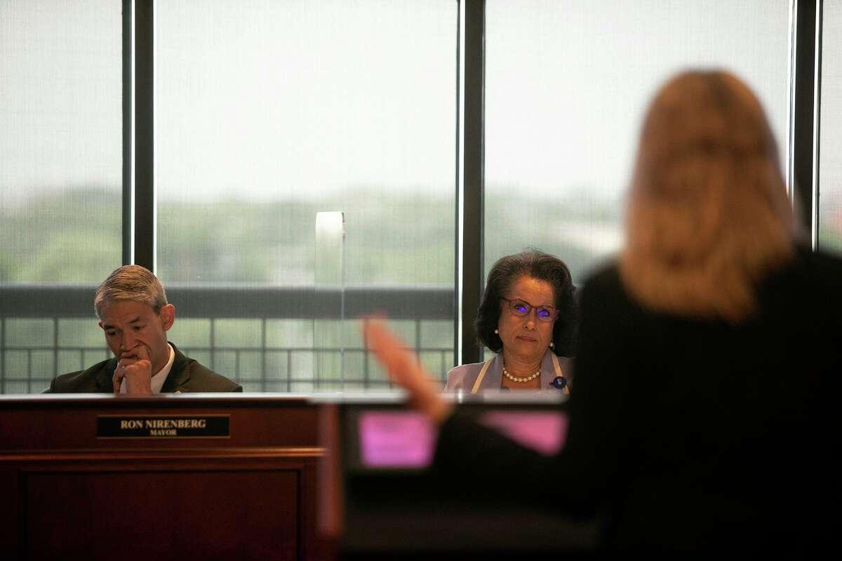 San Antonio Mayor Ron Nirenberg and Chairwoman Jelynne LeBlanc Burley listen to Andrea Beymer, SAWS VP Engineering & Construction, speak during a SAWS board meeting Tuesday.