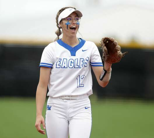 Barbers Hill starting pitcher Samantha Landry (12) reacts after a ball is called in the third inning of a Class 5A UIL state semifinal game at Leander High School, Friday, June 4, 2021, in Leander. Photo: Jason Fochtman/Staff Photographer / 2021 ? Houston Chronicle