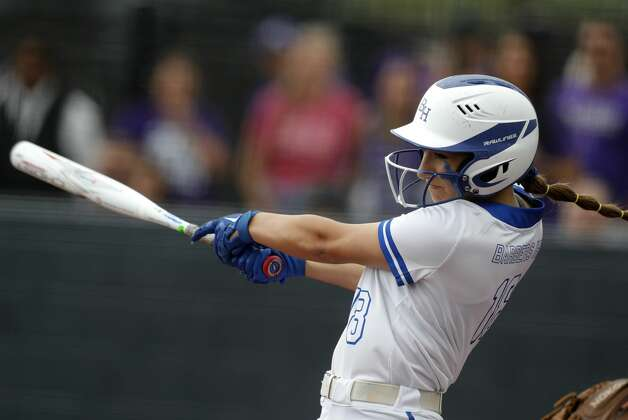 Amber Thibodeaux #18 of Barbers Hill hits a single in the second inning of a Class 5A UIL state semifinal game at Leander High School, Friday, June 4, 2021, in Leander. Photo: Jason Fochtman/Staff Photographer / 2021 ? Houston Chronicle