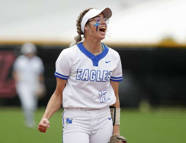 Barbers Hill starting pitcher Samantha Landry (12) reacts after striking out Mallory Pyle #20 of Hallsville to end the fifth inning of a Class 5A UIL state semifinal game at Leander High School, Friday, June 4, 2021, in Leander. Photo: Jason Fochtman/Staff Photographer / 2021 ? Houston Chronicle