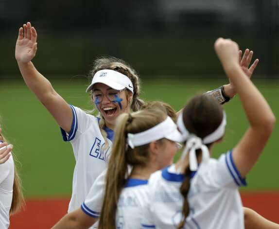 Barbers Hill starting pitcher Samantha Landry (12) celebrates with teammates after striking out 12 in the teamÕs 6-0 win over Hallsville to advance to the Class 5A state championship, Friday, June 4, 2021, in Leander. Photo: Jason Fochtman/Staff Photographer / 2021 ? Houston Chronicle