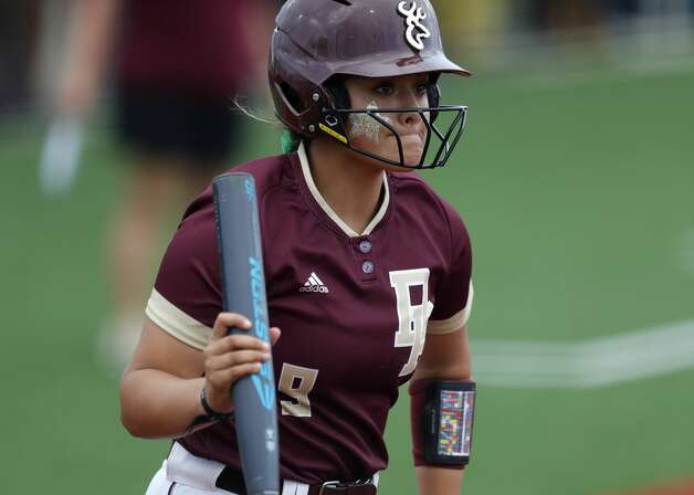 Bryanna Fuentes #9 of Deer Park reacts after striking out in the first inning of a Class 6A state semifinal game, Friday, June 4, 2021, in Leander. Photo: Jason Fochtman/Staff Photographer / 2021 © Houston Chronicle