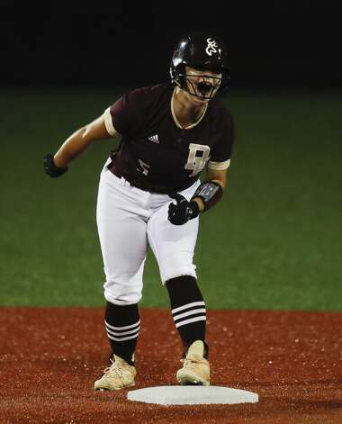 Emma Overla #5 of Deer Park reacts after hitting a double in the fifth inning of a Class 6A state semifinal game, Friday, June 4, 2021, in Leander. Photo: Jason Fochtman/Staff Photographer / 2021 © Houston Chronicle