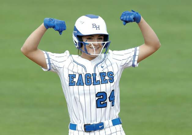 Kaylee Hornberger #24 of Barbers Hill reacts after hitting a double in the first inning of the Class 5A UIL state championship game at Red & Charline McCombs Field, Saturday, June 5, 2021, in Austin. Photo: Jason Fochtman/Staff Photographer / 2021 ? Houston Chronicle
