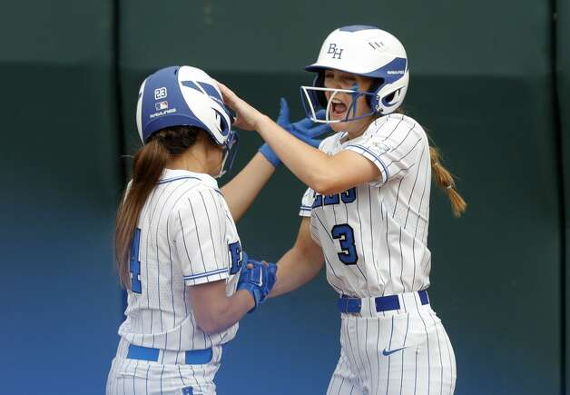 Belaney Dunham #3 of Barbers Hill reacts with Kaylee Hornberger after the two scored on an error in the first inning of the Class 5A UIL state championship game at Red & Charline McCombs Field, Saturday, June 5, 2021, in Austin. Photo: Jason Fochtman/Staff Photographer / 2021 ? Houston Chronicle