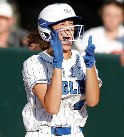 Faith Guidry #4 of Barbers Hill reacts after hitting an RBI single during the sixth inning of the Class 5A UIL state championship at Red & Charline McCombs Field, Saturday, June 5, 2021, in Austin. Photo: Jason Fochtman/Staff Photographer / 2021 ? Houston Chronicle