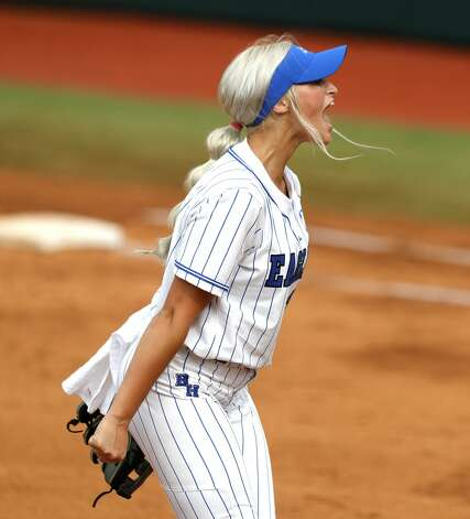 Barbers Hill starting pitcher Sophia Simpson (29) reacts after a strikeout in the first inning of the Class 5A UIL state championship game at Red & Charline McCombs Field, Saturday, June 5, 2021, in Austin. Photo: Jason Fochtman/Staff Photographer / 2021 © Houston Chronicle