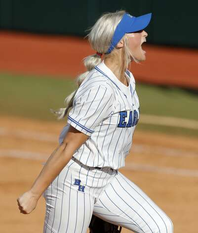 Barbers Hill starting pitcher Sophia Simpson (29) reacts after a strikeout during the third inning of the Class 5A UIL state championship at Red & Charline McCombs Field, Saturday, June 5, 2021, in Austin. Photo: Jason Fochtman/Staff Photographer / 2021 ? Houston Chronicle