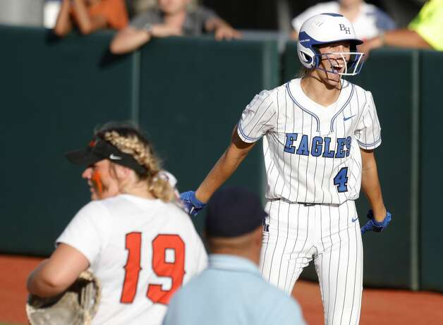 Faith Guidry #4 of Barbers Hill reacts after hitting an RBI single during the sixth inning of the Class 5A UIL state championship at Red & Charline McCombs Field, Saturday, June 5, 2021, in Austin. Photo: Jason Fochtman/Staff Photographer / 2021 © Houston Chronicle