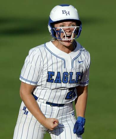Kaitlyn Dutton #27 of Barbers Hill reacts after hitting an RBI double during the sixth inning of the Class 5A UIL state championship at Red & Charline McCombs Field, Saturday, June 5, 2021, in Austin. Photo: Jason Fochtman/Staff Photographer / 2021 ? Houston Chronicle