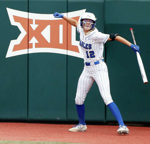 Samantha Landry #12 of Barbers Hill celebrates after Reagan Duty stole second base during the third inning of the Class 5A UIL state championship at Red & Charline McCombs Field, Saturday, June 5, 2021, in Austin. Photo: Jason Fochtman/Staff Photographer / 2021 ? Houston Chronicle