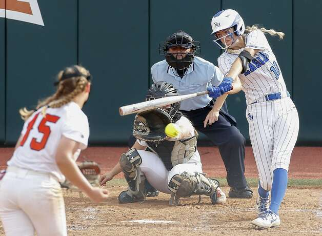 Samantha Landry #12 of Barbers Hill connects for a single during the third inning of the Class 5A UIL state championship at Red & Charline McCombs Field, Saturday, June 5, 2021, in Austin. Photo: Jason Fochtman/Staff Photographer / 2021 © Houston Chronicle