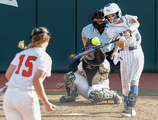 Estela Garza #9 of Barbers Hill connects for a single during the first inning of the Class 5A UIL state championship at Red & Charline McCombs Field, Saturday, June 5, 2021, in Austin. Photo: Jason Fochtman/Staff Photographer / 2021 © Houston Chronicle