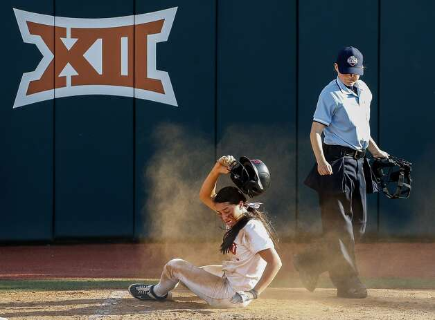 Macy Graf #1 of Aledo reacts after being tagged out at home by Barbers Hill catcher Estela Garza during the Class 5A UIL state championship at Red & Charline McCombs Field, Saturday, June 5, 2021, in Austin. Photo: Jason Fochtman/Staff Photographer / 2021 © Houston Chronicle