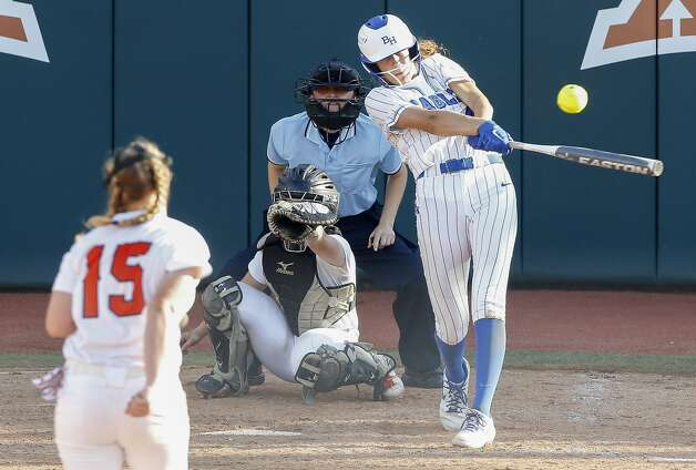 Faith Guidry #4 of Barbers Hill hits an RBI single during the sixth inning of the Class 5A UIL state championship at Red & Charline McCombs Field, Saturday, June 5, 2021, in Austin. Photo: Jason Fochtman/Staff Photographer / 2021 ? Houston Chronicle