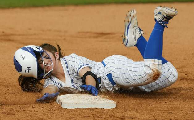 Reagan Duty #47 of Barbers Hill gets tagged out trying to advance to second by Aledo shortstop Macy Graf (1) in the first inning of the Class 5A UIL state championship game at Red & Charline McCombs Field, Saturday, June 5, 2021, in Austin. Photo: Jason Fochtman/Staff Photographer / 2021 © Houston Chronicle