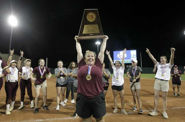 Deer Park head coach Amy Bush celebrates after the Lady Deer defeated Judson 1-0 to win the Class 6A UIL state championship at Red & Charline McCombs Field, Saturday, June 5, 2021, in Austin. Photo: Jason Fochtman/Staff Photographer / 2021 ? Houston Chronicle