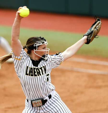 Liberty starting pitcher Kaci West (7) throws in the first inning of the Class 4A UIL state championship game at Red & Charline McCombs Field, Saturday, June 5, 2021, in Austin. Photo: Jason Fochtman/Staff Photographer / 2021 ? Houston Chronicle