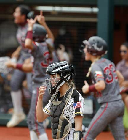 in the first inning of the Class 4A UIL state championship game at Red & Charline McCombs Field, Saturday, June 5, 2021, in Austin. Photo: Jason Fochtman/Staff Photographer / 2021 ? Houston Chronicle
