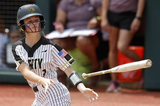 Bailee Slack #3 of Liberty draws a walk in the third inning of the Class 4A UIL state championship game at Red & Charline McCombs Field, Saturday, June 5, 2021, in Austin. Photo: Jason Fochtman/Staff Photographer / 2021 ? Houston Chronicle
