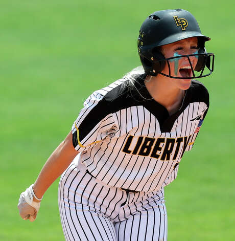 Mikaelah Burkland #10 of Liberty reacts after hitting a 2-RBI single in the third inning of the Class 4A UIL state championship game at Red & Charline McCombs Field, Saturday, June 5, 2021, in Austin. Photo: Jason Fochtman/Staff Photographer / 2021 © Houston Chronicle