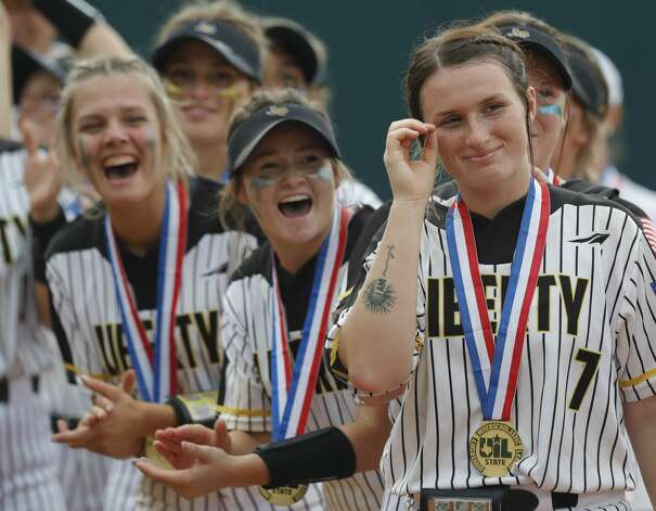 Liberty starting pitcher Kaci West (7) reacts after being named the MVP of the Class 4A UIL state championship game after the team's 10-3 win over Calallen at Red & Charline McCombs Field, Saturday, June 5, 2021, in Austin. Photo: Jason Fochtman/Staff Photographer / 2021 © Houston Chronicle