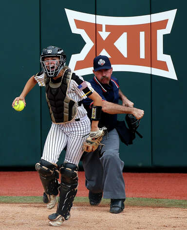 Liberty catcher Hollie Thomas celebrates after a strikeout by starting pitcher Kaci West during the Class 4A UIL state championship at Red & Charline McCombs Field, Saturday, June 5, 2021, in Austin. Photo: Jason Fochtman/Staff Photographer / 2021 ? Houston Chronicle