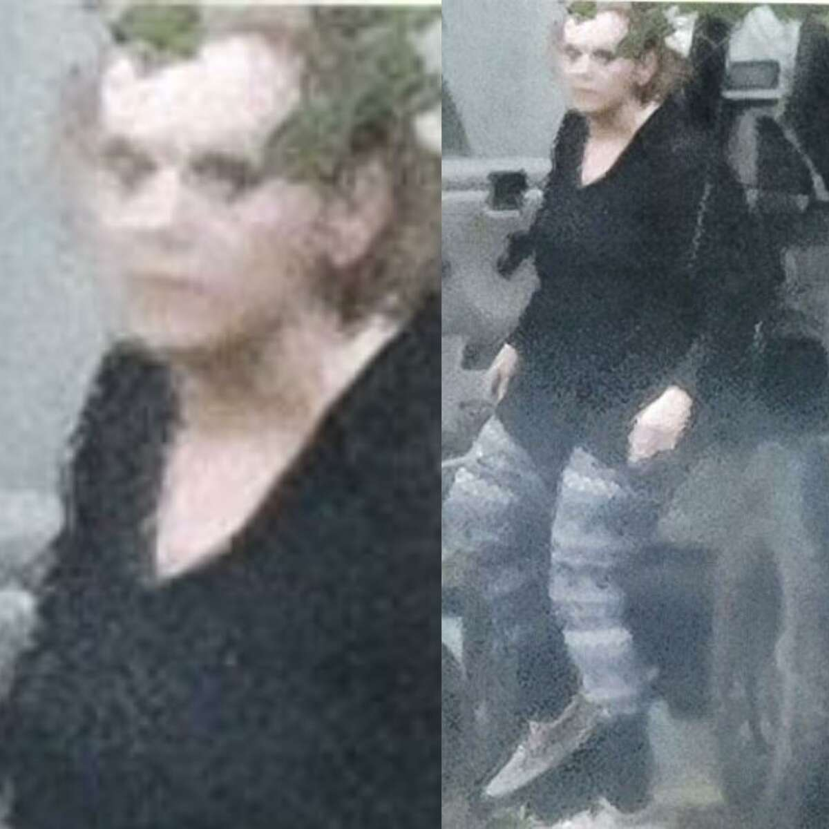 A woman is seen in images authorities have released pointing to her as a person of interest in a home burglary in May in New Caney.