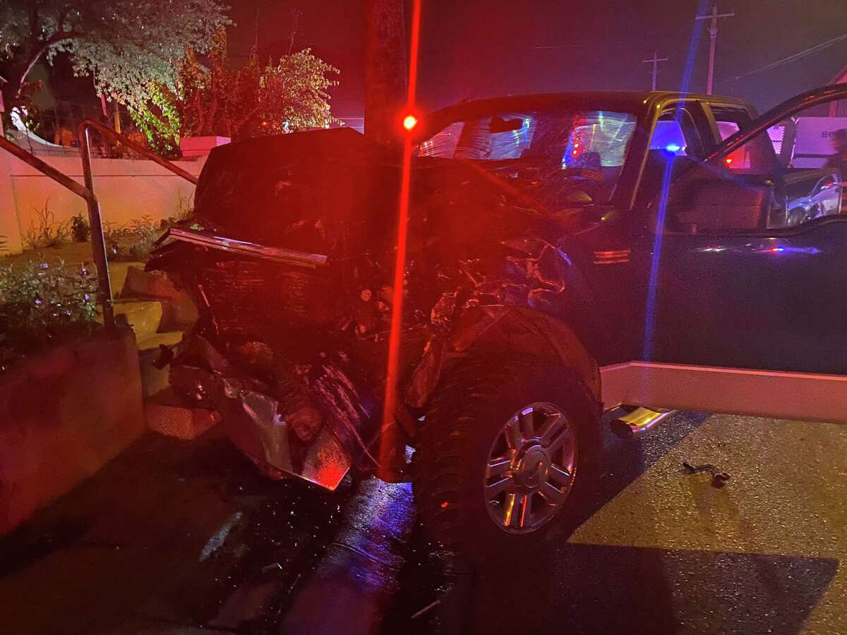 Laredo police said this pickup crashed into a marked U.S. Border Patrol.