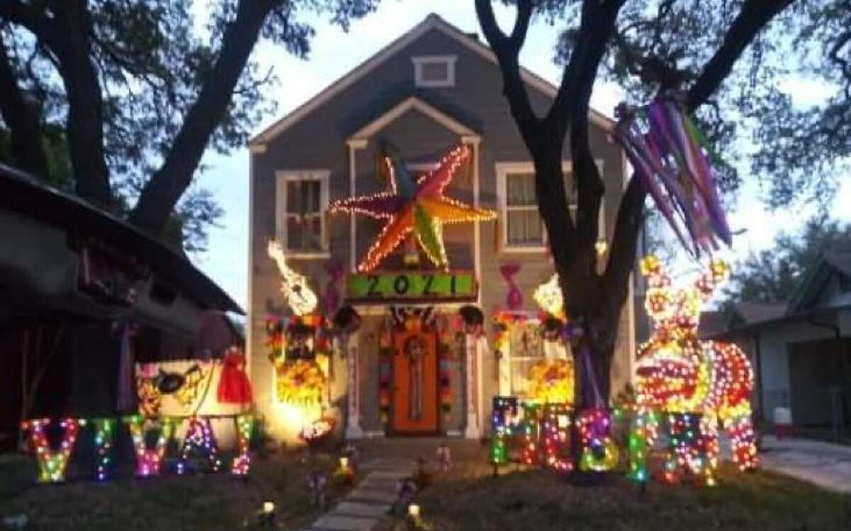An example of home decorated for the City-Wide Porch Parade, a Fiesta decorating contest by the Battle of Flowers Association and San Antonio Fiesta Flambeau Parade Association.