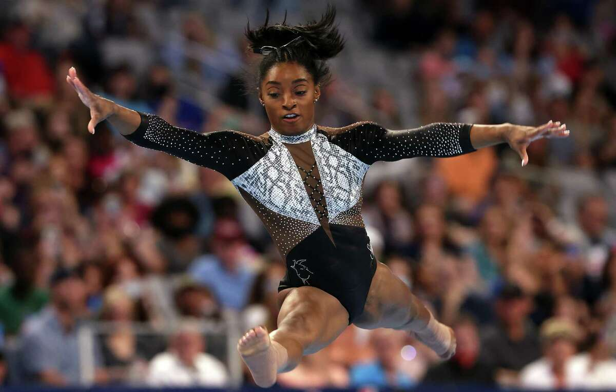It's been said, perhaps with slight exaggeration, that Simone Biles spends more time in the air than on the mat during her floor routine.