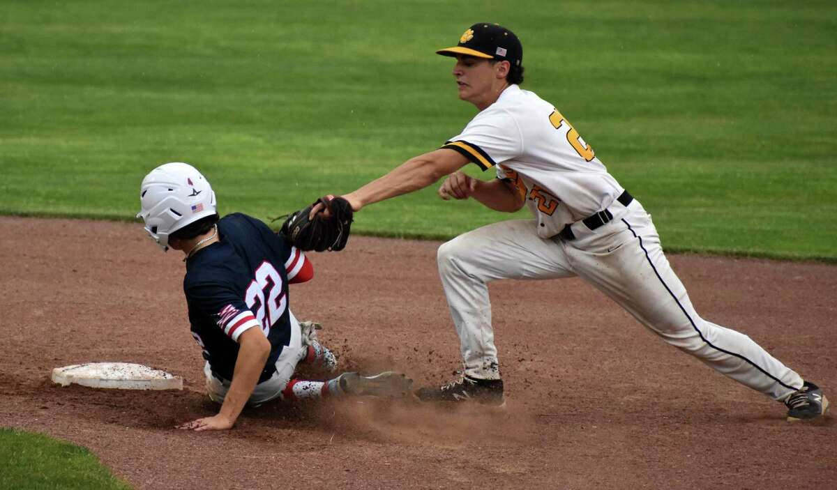 Avon's Lucas Lloyd slides into second safely during the Class L baseball semifinals at Palmer Field, Middletown on Tuesday, June 8, 2021.