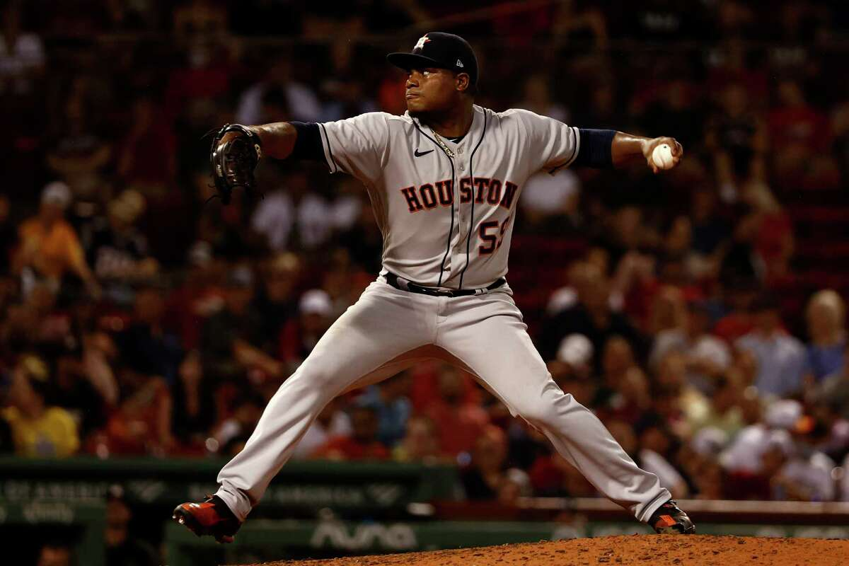 Houston Astros starting pitcher Framber Valdez pitches against the Boston Red Sox during the seventh inning of a baseball game Tuesday, June 8, 2021, at Fenway Park in Boston. (AP Photo/Winslow Townson)