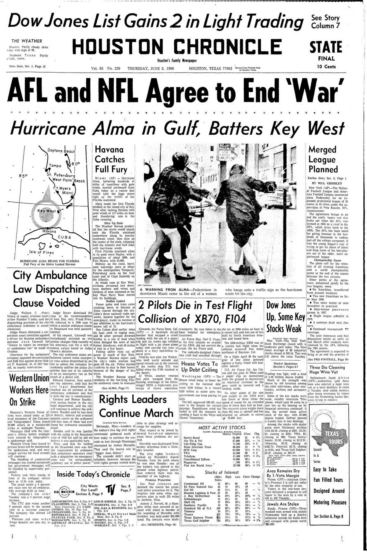Houston Chronicle front page from June 9, 1966.
