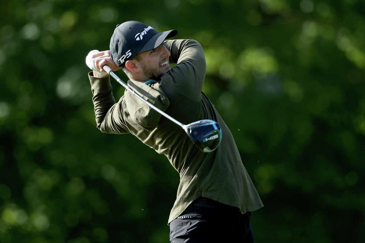 KNOXVILLE, TENNESSEE - MAY 14: Zach Zaback plays his shot from the second tee during the Second Round of the Visit Knoxville Open at Holston Hills Country Club on May 14, 2021 in Knoxville, Tennessee. (Photo by Dylan Buell/Getty Images)