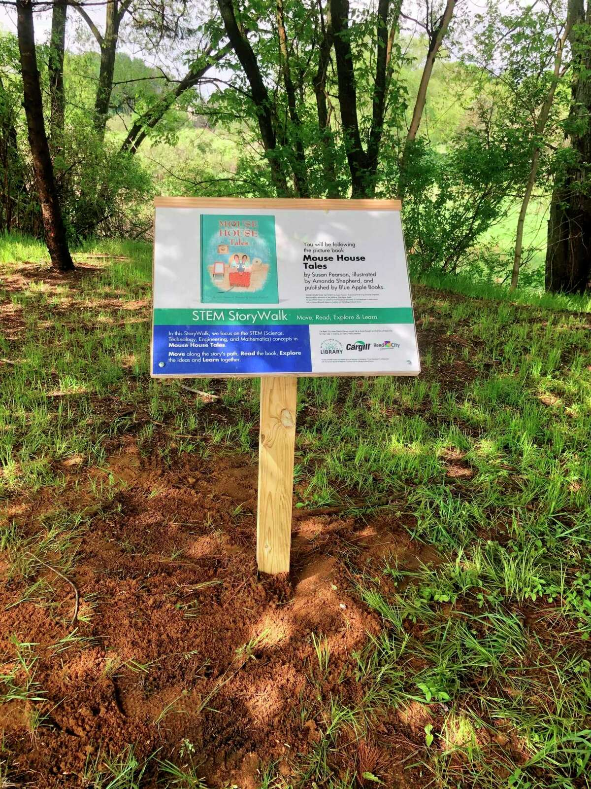 The Reed City Area District Library implemented the first edition of their StoryWalk project in the Westburg Park which aims to encourage reading and physical out door activity. (Courtesy/Lyndsey Eccles-Burchett)
