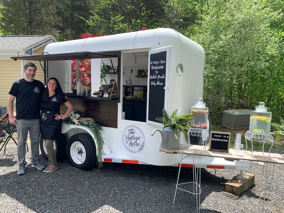 Jennifer Milano, of Trumbull, and her husband turned an old horse trailer into a mobile bartending station for events called The Vintage Horse.