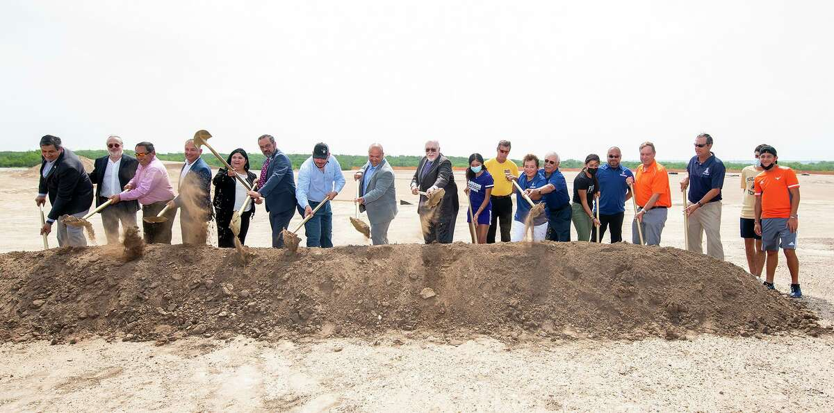 Community leaders from the City of Laredo, TAMIU, the Laredo Tennis Association, architects and tennis players participate in the ground-breaking ceremony for the City of Laredo Tennis Complex at TAMIU on Tuesday, June 8, 2021.