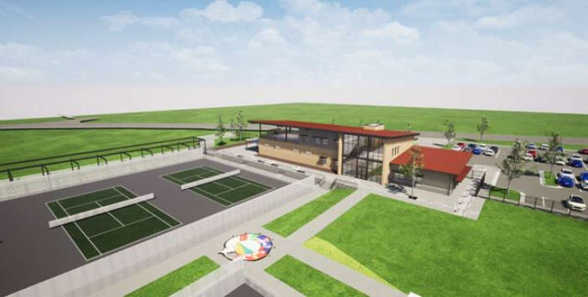 An artist's rendering shows plans for the $7.5 million tennis complex which will take up 11 acres on TAMIU's campus.