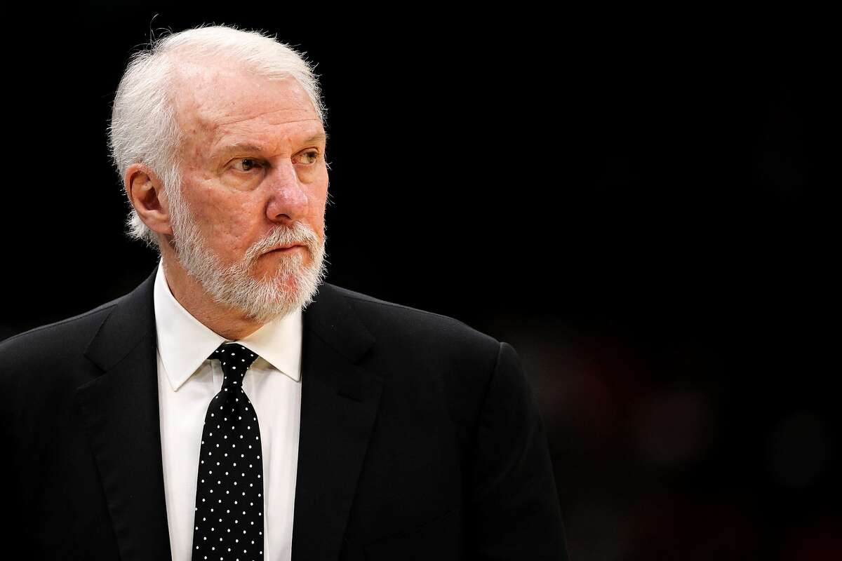 CHICAGO, IL - OCTOBER 21: Head coach Gregg Popovich of the San Antonio Spurs looks on in the third quarter against the Chicago Bulls at the United Center on October 21, 2017 in Chicago, Illinois. NOTE TO USER: User expressly acknowledges and agrees that, by downloading and or using this photograph, User is consenting to the terms and conditions of the Getty Images License Agreement. (Photo by Dylan Buell/Getty Images)