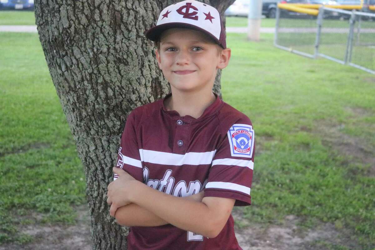 League City National 9U All-Star Gabe Johnson helped protect his home turf Tuesday night, following a 12-7 win over Dickinson at John Paul Field.