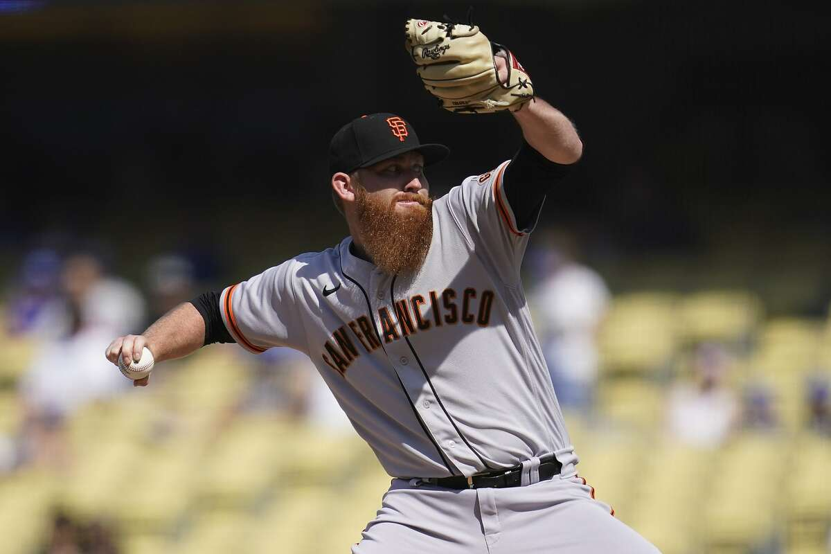 San Francisco Giants relief pitcher Zack Littell (56) throws during a baseball game against the Los Angeles Dodgers Sunday, May 30, 2021, in Los Angeles. (AP Photo/Ashley Landis)