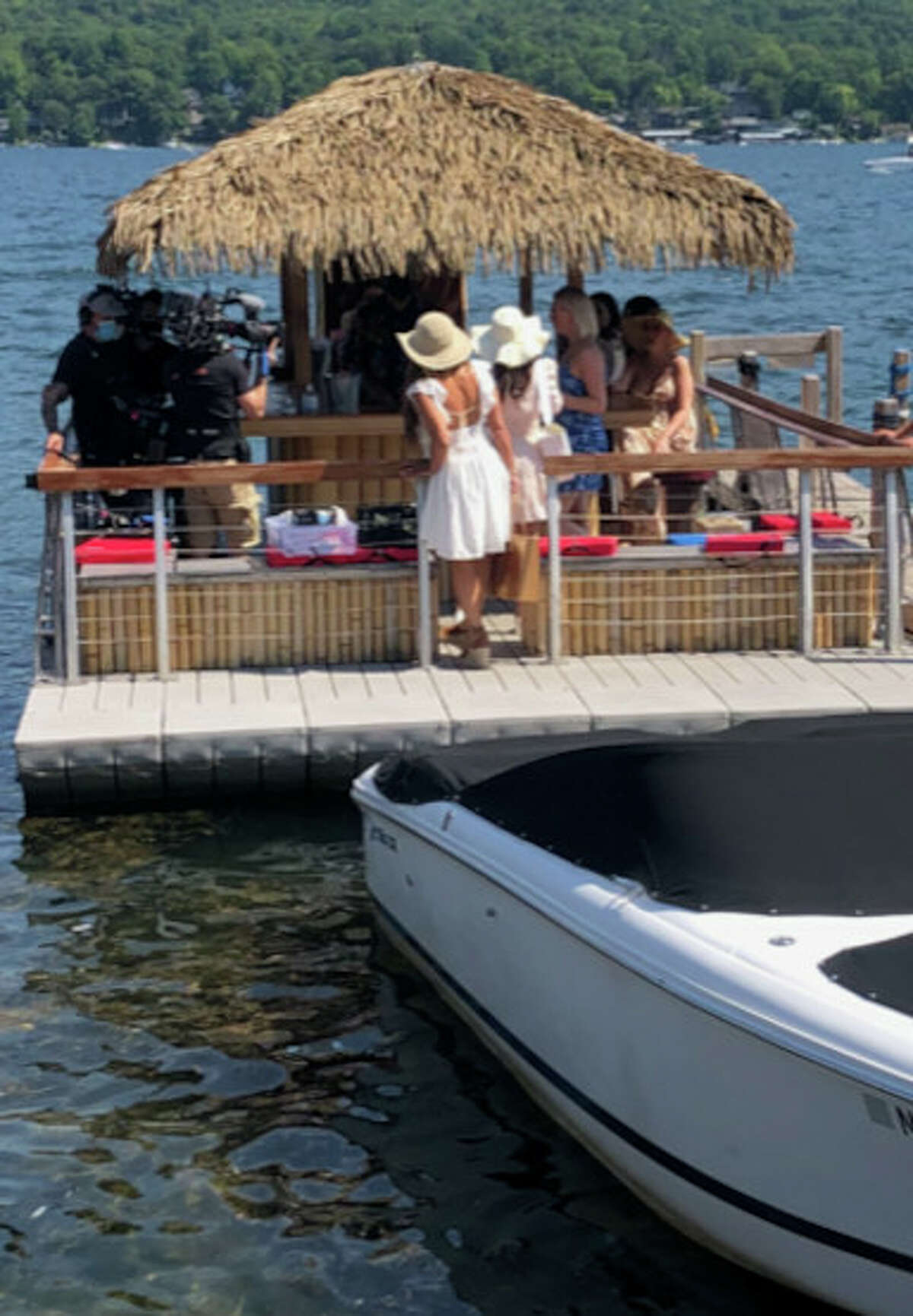 """Cast and crew of """"The Real Housewives of New Jersey"""" reality series took a Lake George cruise last summer with The Tiki Tours. (Nancy Hart/The Tiki Tours.)"""