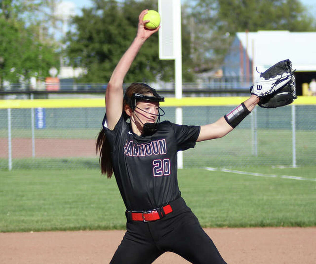 Calhoun's Kylie Angel, shown pitching earlier this season, threw a one-hitter and struck out 11 in Tuesday's 1-0 Class 1A sectional semifinal loss to Christ Our Rock Lutheran in Centralia.